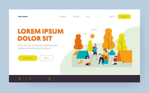 Happy parents and kids enjoying camping. children and adults sitting at tents, playing guitar flat vector illustration. family outdoor activities concept for banner, website design or landing web page