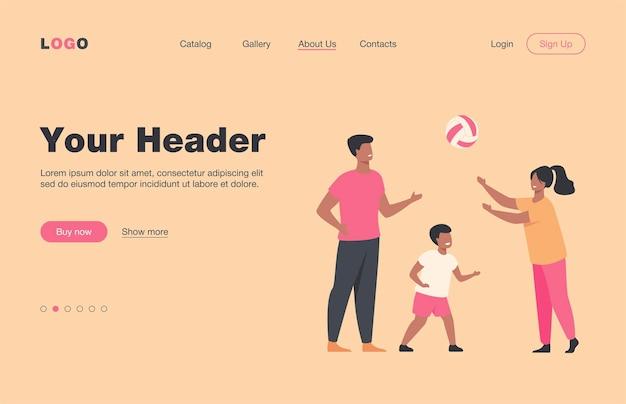 Счастливые родители играют в мяч с детской плоской целевой страницей. мультфильм отец, мать и сын вместе веселятся возле дома. семейный активный отдых, спортивные игры и концепция здорового образа жизни