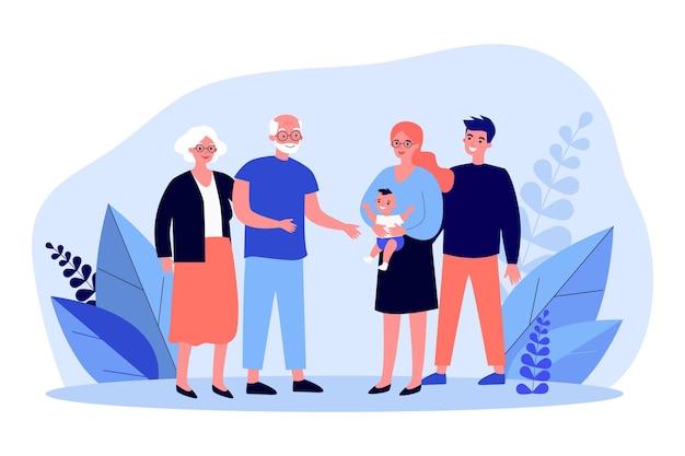 조부모에게 신생아를 보여주는 행복한 부모. 아기, 할아버지, 할머니 평면 벡터 일러스트 레이 션. 배너, 웹 사이트 디자인 또는 방문 웹 페이지에 대한 가족 및 부모 개념