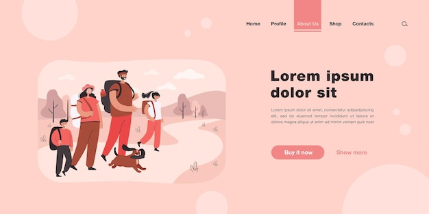 Happy parents with children walking on nature landing page in flat style