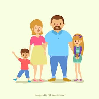 두 명의 사랑스러운 아이들과 함께하는 행복한 부모
