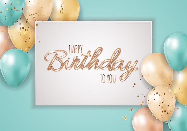 С днем рождения фон с реалистичными воздушными шарами и рамкой.