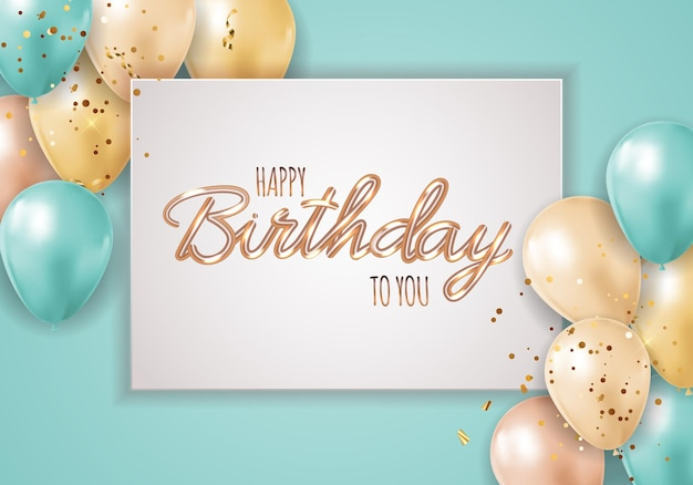 Happy party birthday background with realistic balloons and frame.