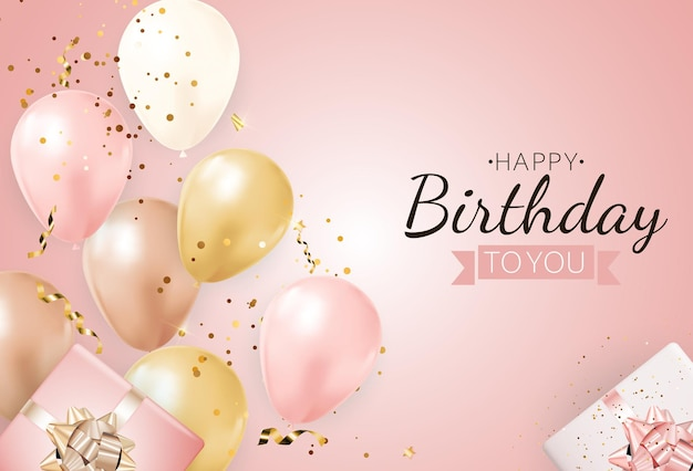Happy party birthday background with realistic balloons and gift box.
