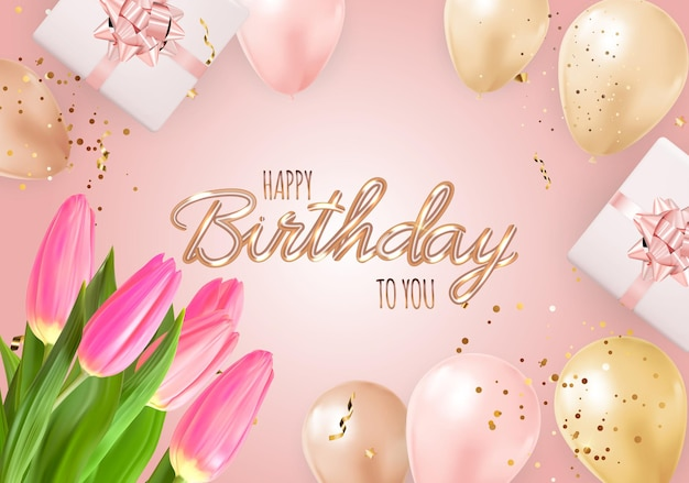 Happy party birthday background with realistic balloons, tulips, gift box and confetti.