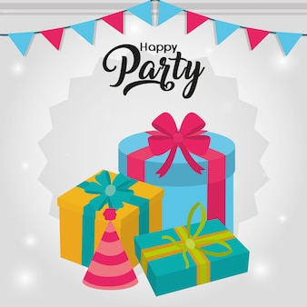 Happy party card with decorative elements