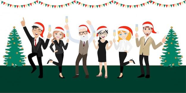 Happy party группа деловых людей с мультипликационным персонажем, с рождеством и новым годом