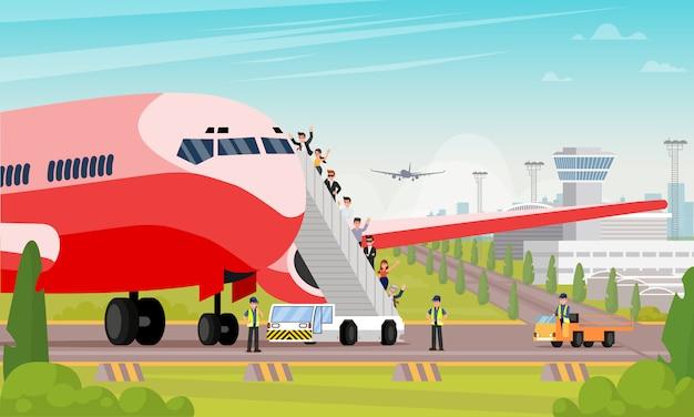 Happy passengers board airplane flat illustration