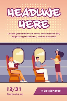 Happy passengers sitting and airplane near windows flyer template