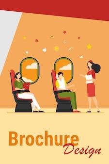 座っている幸せな乗客と窓の近くの飛行機フラットベクトルイラスト。飛行機の中で旅行者に指示する漫画の客室乗務員。旅、旅行、観光のコンセプト