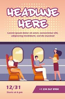 座っている幸せな乗客と窓のチラシテンプレートの近くの飛行機