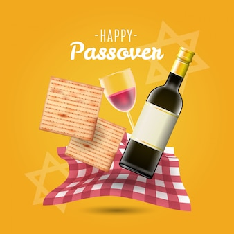 Happy passover background traditional matzo and wine