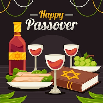 Happy passover flat design