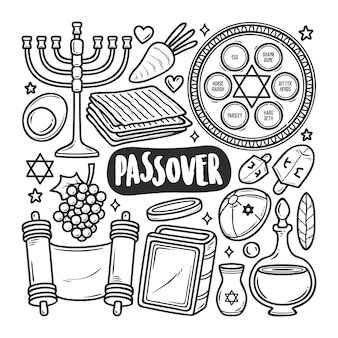 Happy passover icons hand drawn doodle coloring