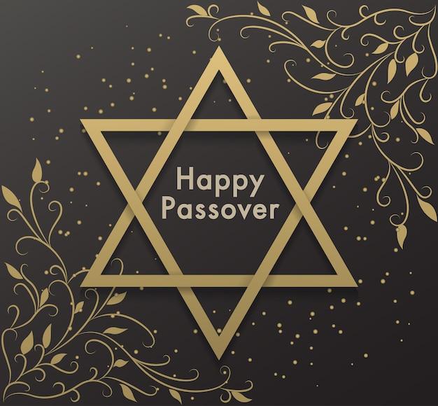 Счастливой пасхи еврейские надписи. фон со звездой давида.