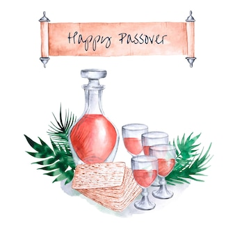 Happy passover watercolor