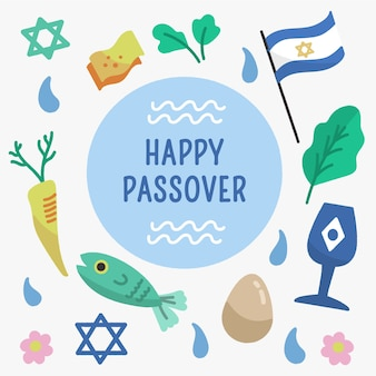 Happy passover with flag and star of david