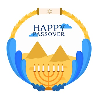 Happy passover with menorah