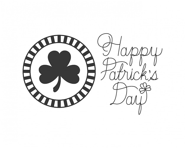 Happy patrick`s day label with clover icons