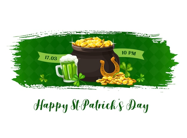 Happy patricks day banner with shamrocks