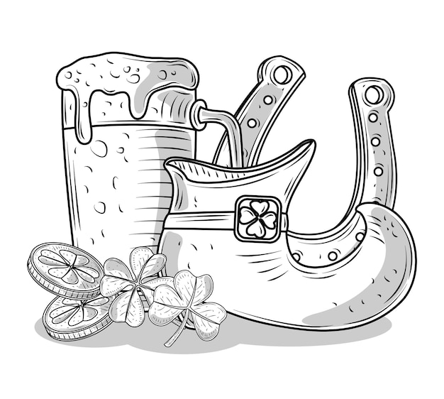 Happy patricks day illustration in black and white