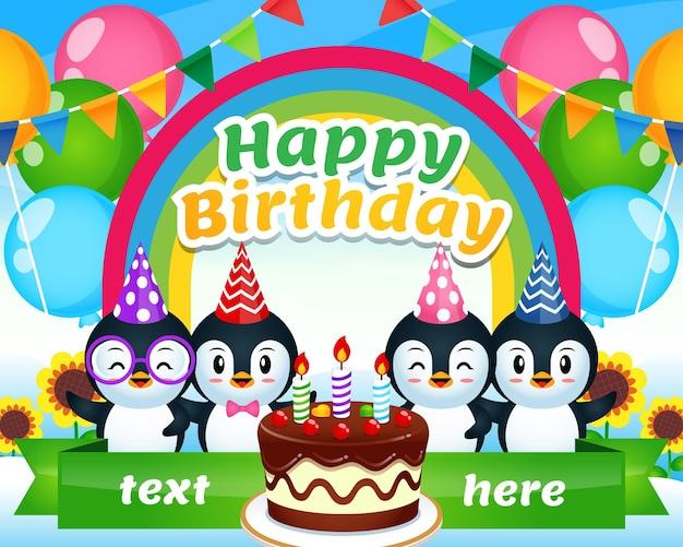 Happy penguin birthday on rainbow sky garden