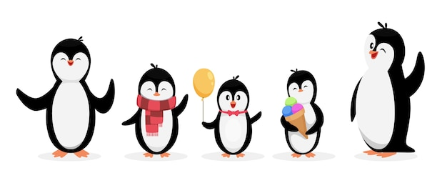행복한 펭귄 가족. 펭귄 흰색 배경에 고립입니다. 귀여운 만화 캐릭터 동물을 설정합니다. 그림 펭귄 가족, 만화 겨울 동물