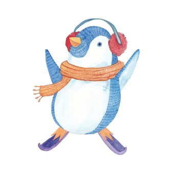 Happy penguin playing with music headset in watercolor