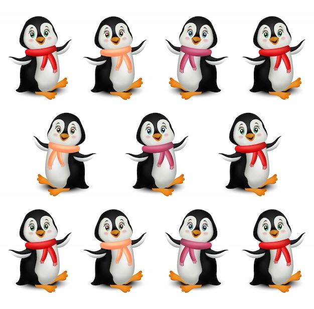 Счастливый пингвинов шаблон мультфильм вектор, изолированных на белом фоне Premium векторы