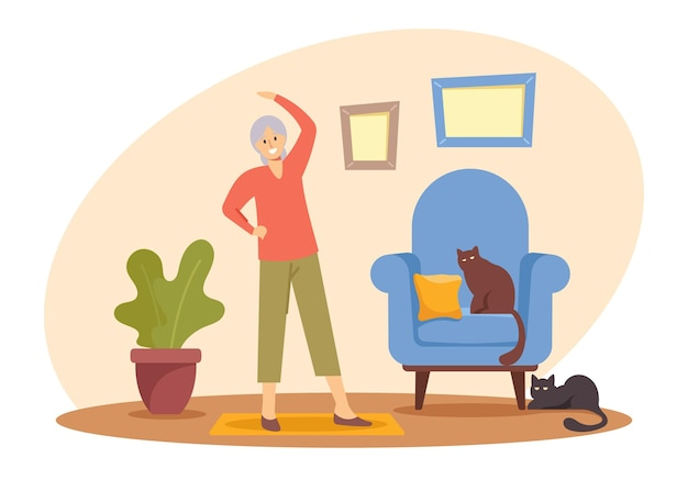 Happy pensioner woman hobby and healthy lifestyle, senior female character exercising at home. aged woman engaged sport, fitness exercises, workout sports activity. cartoon people vector illustration