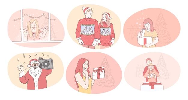 幸せな人々と子供たちはお祝いのサンタの衣装でキャラクターを漫画します
