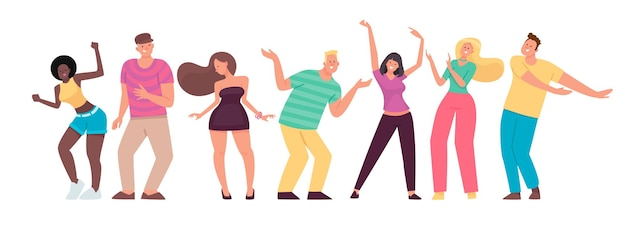 Happy people are dancing. men and women move to the music. set of cheerful energetic characters. in flat style.