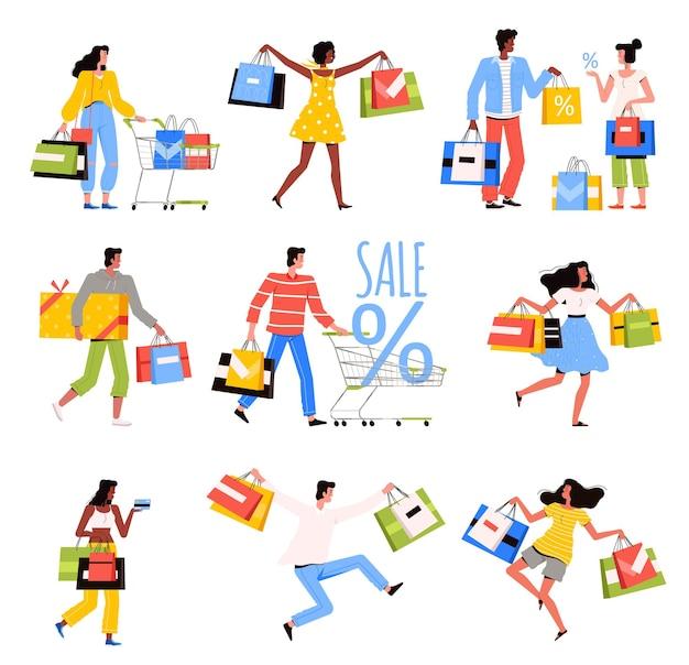 행복한 사람들이 상점에서 쇼핑하고 있습니다.