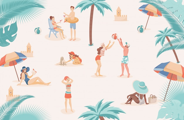 Happy people at beach relaxing, doing summer outdoor activities flat illustration.