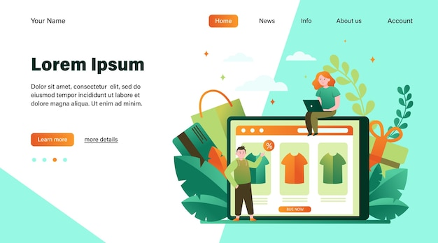 オンラインで服を買う幸せな人々。 tシャツ、パーセント、顧客フラットベクトルイラスト。 eコマースおよびデジタル技術の概念のウェブサイトのデザインまたはランディングwebページ