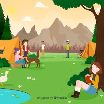 Happy people camping in nature