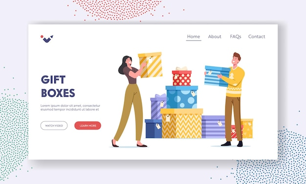 Happy people carry wrapped gift boxes landing page template. male and female characters prepare for holidays celebration. men women buying presents for family and friends. cartoon vector illustration