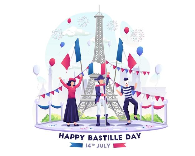 幸せな人々は7月14日のフランス建国記念日にバスティーユの日を祝うイラスト