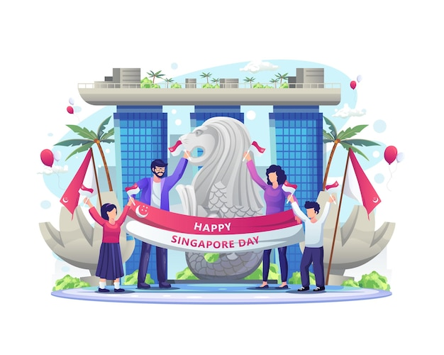 幸せな人々は8月9日のイラストでシンガポールの独立記念日を祝います