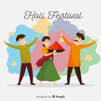 ホーリー祭を祝う幸せな人々