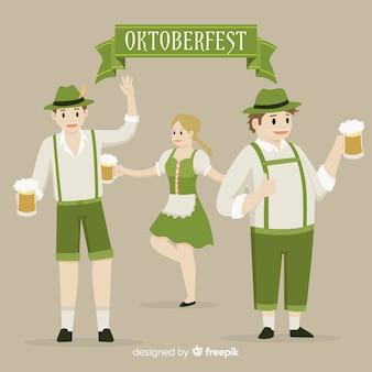 Happy people celebrating oktoberfest with flat design