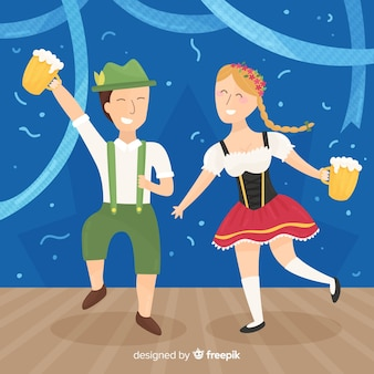 Happy people celebrating oktoberfest with flat design