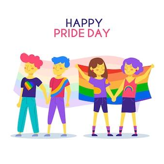 Gente felice che celebra il giorno dell'orgoglio