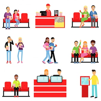 Happy people in the cinema or movie theatre set, man and woman buying tickets, popcorn, drinks colorful   illustrations