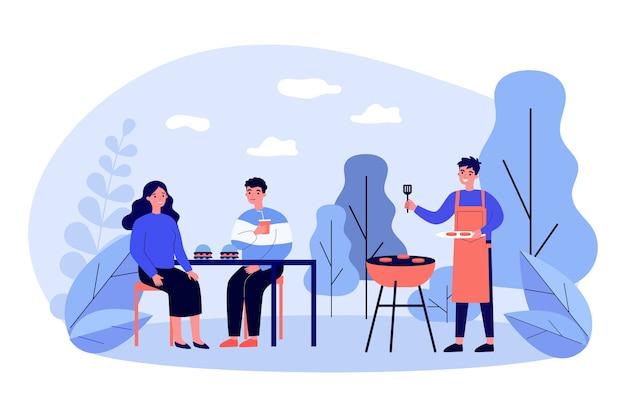 바베큐 고기를 요리하고 먹는 행복한 사람들 프리미엄 벡터