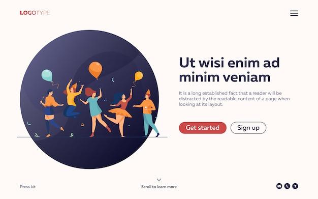 Счастливые люди танцуют на плоской иллюстрации партии. целевая страница или веб-шаблон