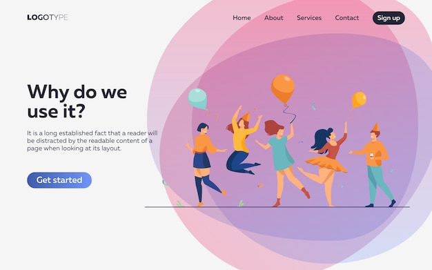 Happy people dancing at party flat illustration. landing page or web template