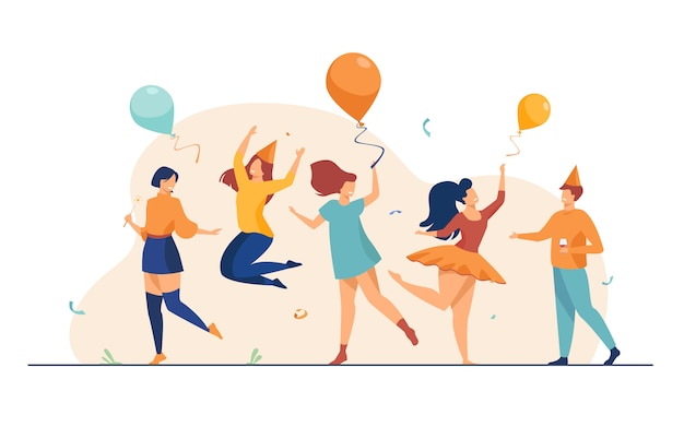 Happy people dancing at party flat illustration