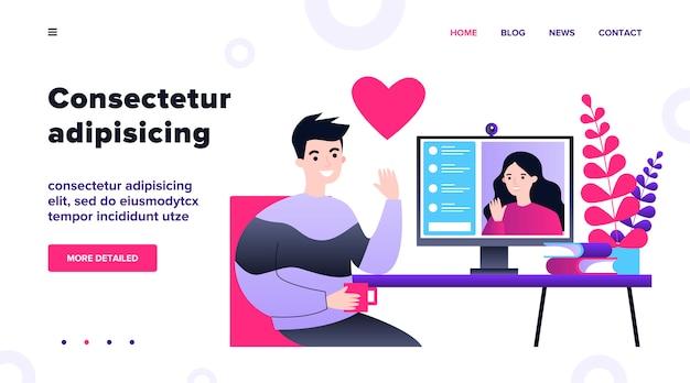 온라인 일러스트 데이트하는 행복 한 사람들. 젊은 남자와 여자 랩톱 컴퓨터를 통해 채팅. 소셜 미디어 및 통신 개념.