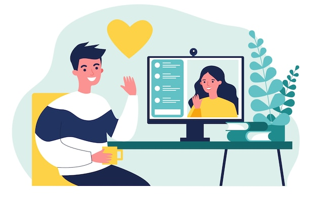 Happy people dating online   illustration